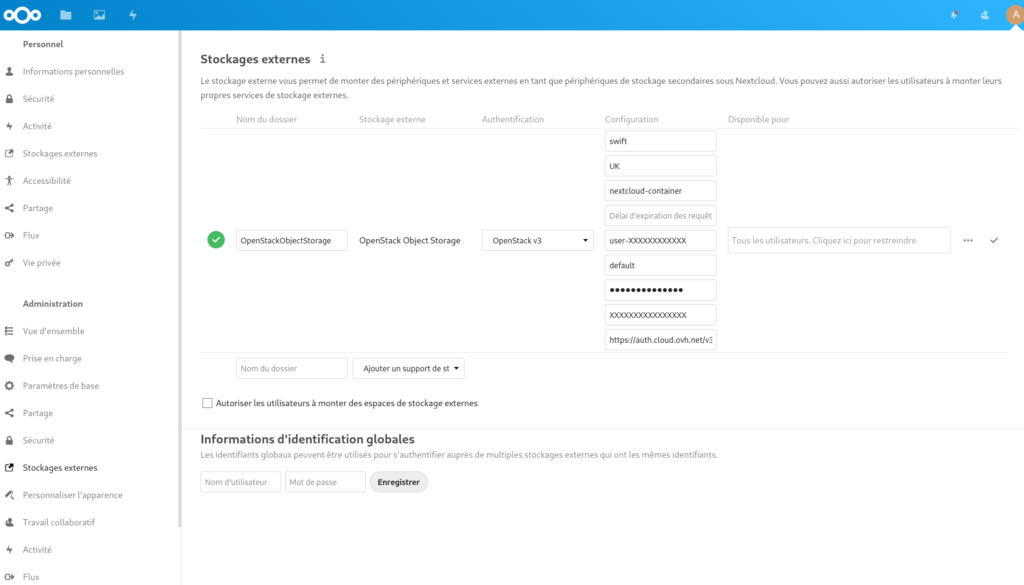 Openstack Object Storage dans Nextcloud